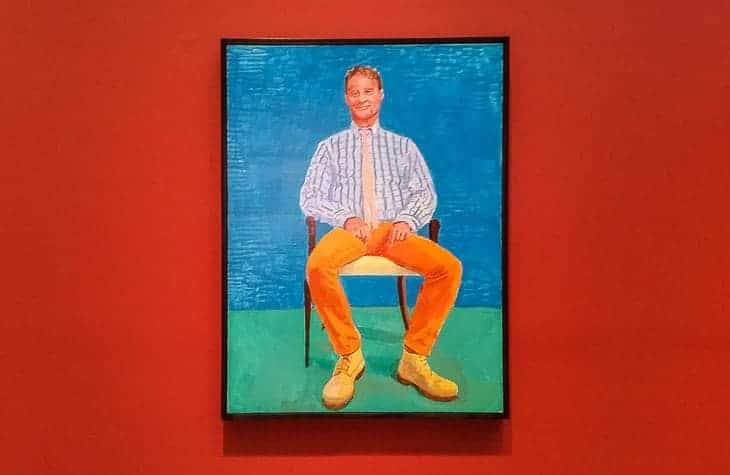 David Hockney at LACMA – 82 portraits on a deep Venetian red wall color