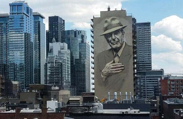 Leonard Cohen fresco downtown Montreal