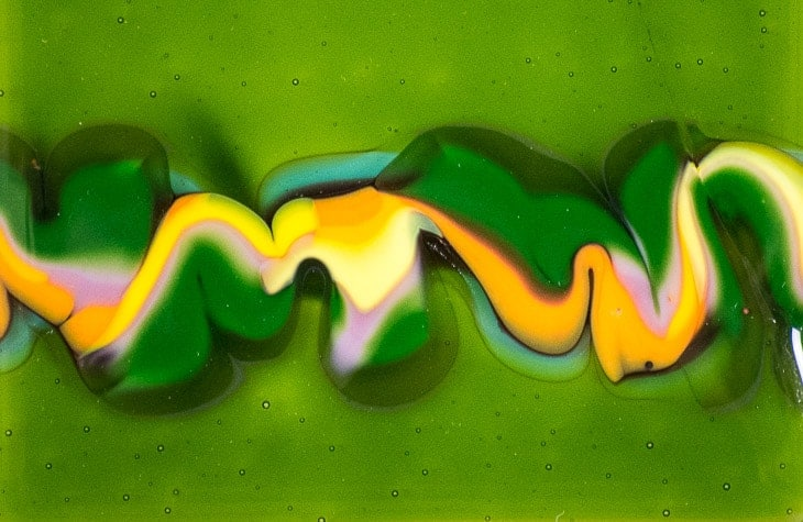 Green Fused Glass Tiles on Printed Aluminum Panels